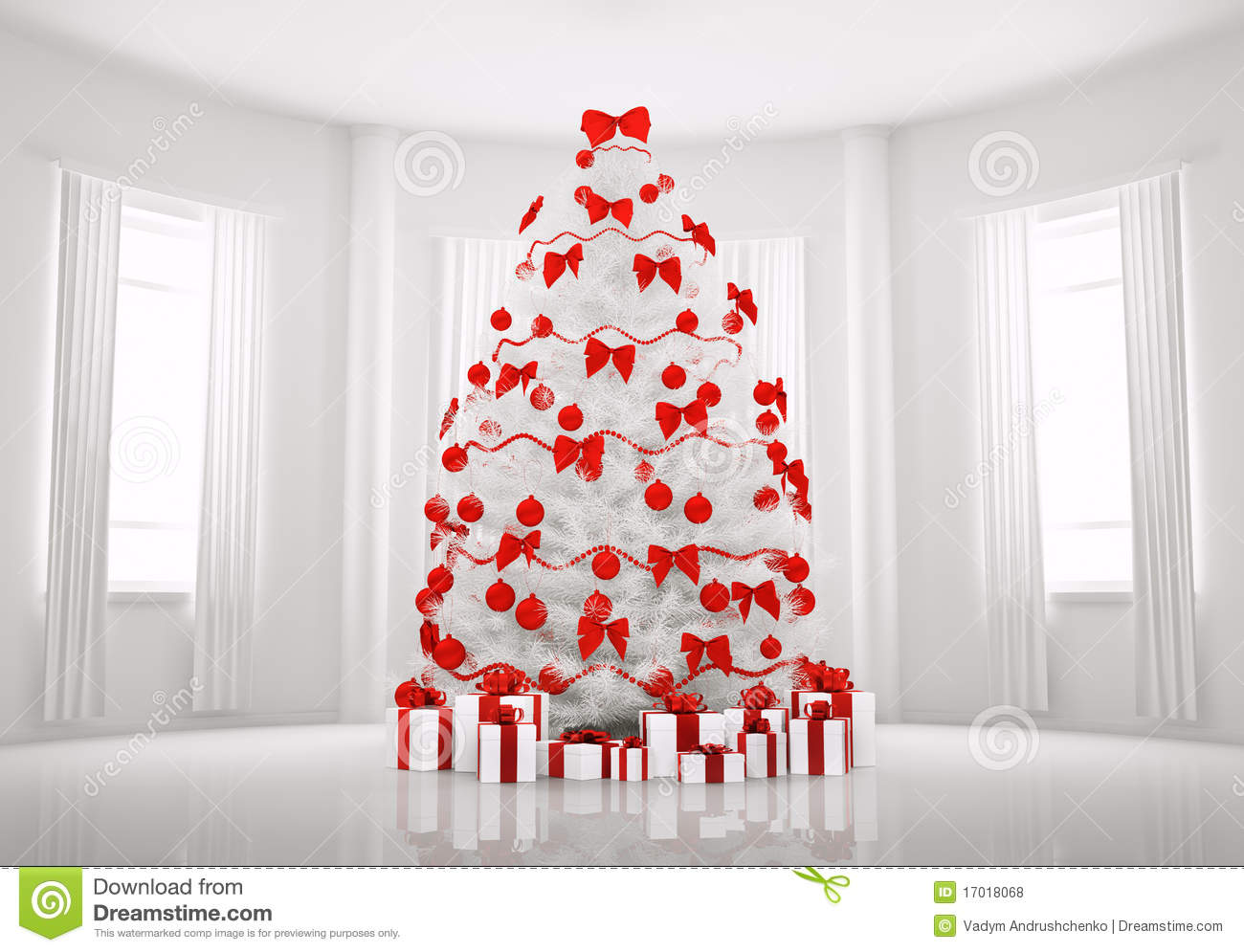 white christmas tree in the room interior 3d - White Christmas Tree With Red Decorations