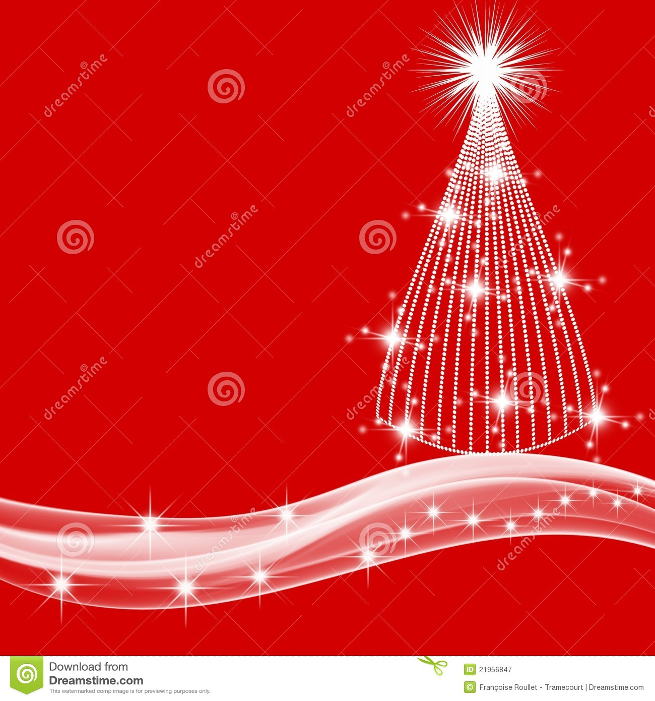 White Christmas Tree And Stars On Red Background Stock ...