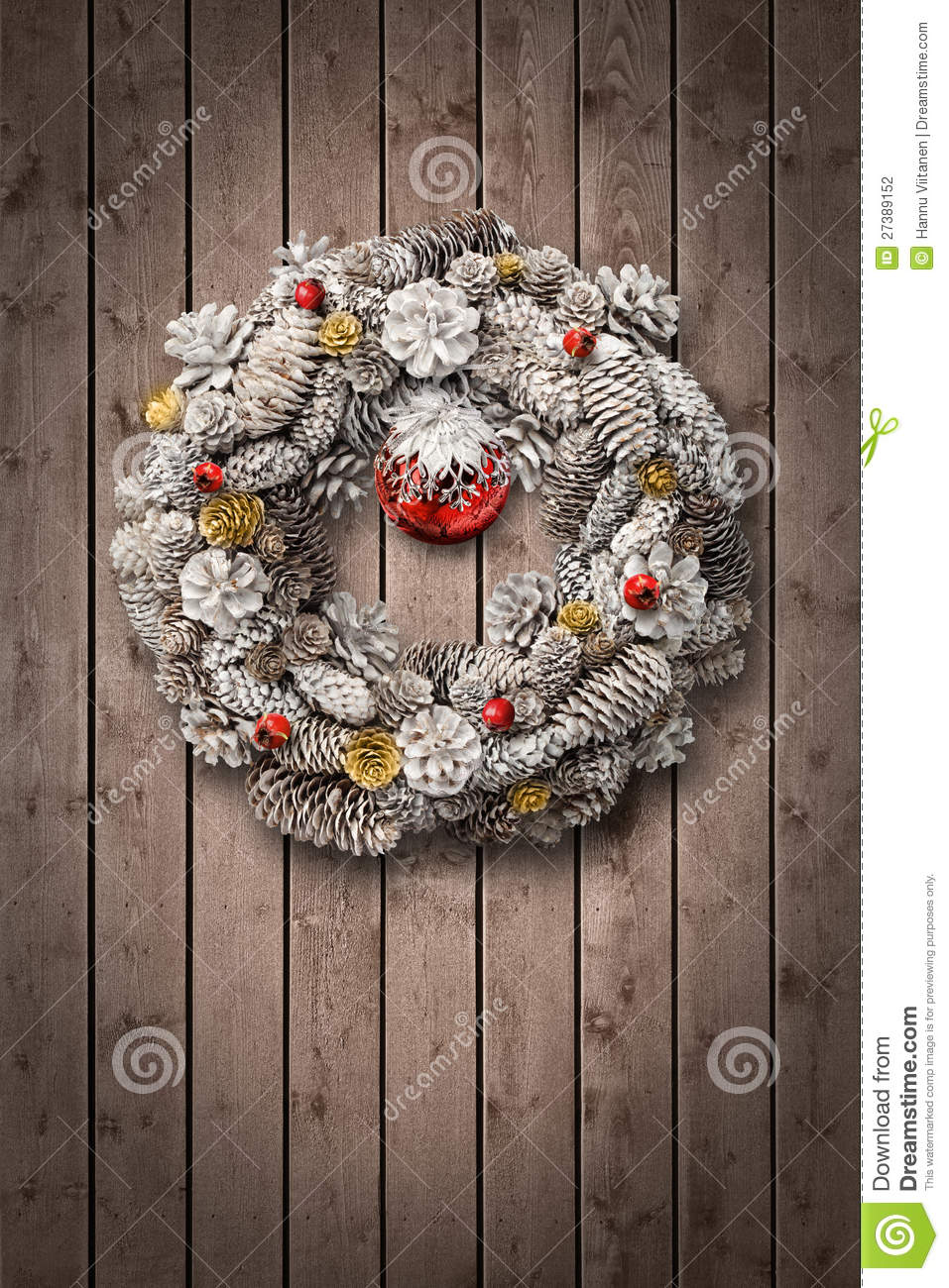White christmas wreath on wooden door stock photo image