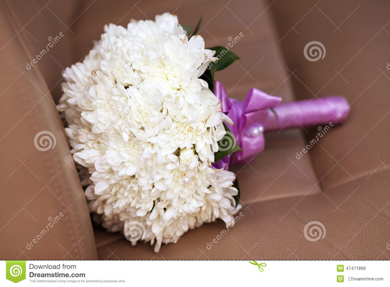 white chrysanthemum wedding bouquet with purple stock photo, Beautiful flower