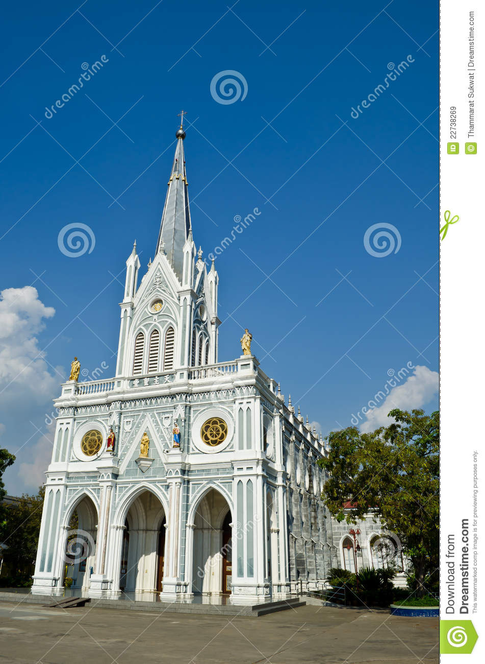 Samut Songkhram Thailand  city photos gallery : White Church, Samut Songkhram, Thailand Royalty Free Stock Images ...