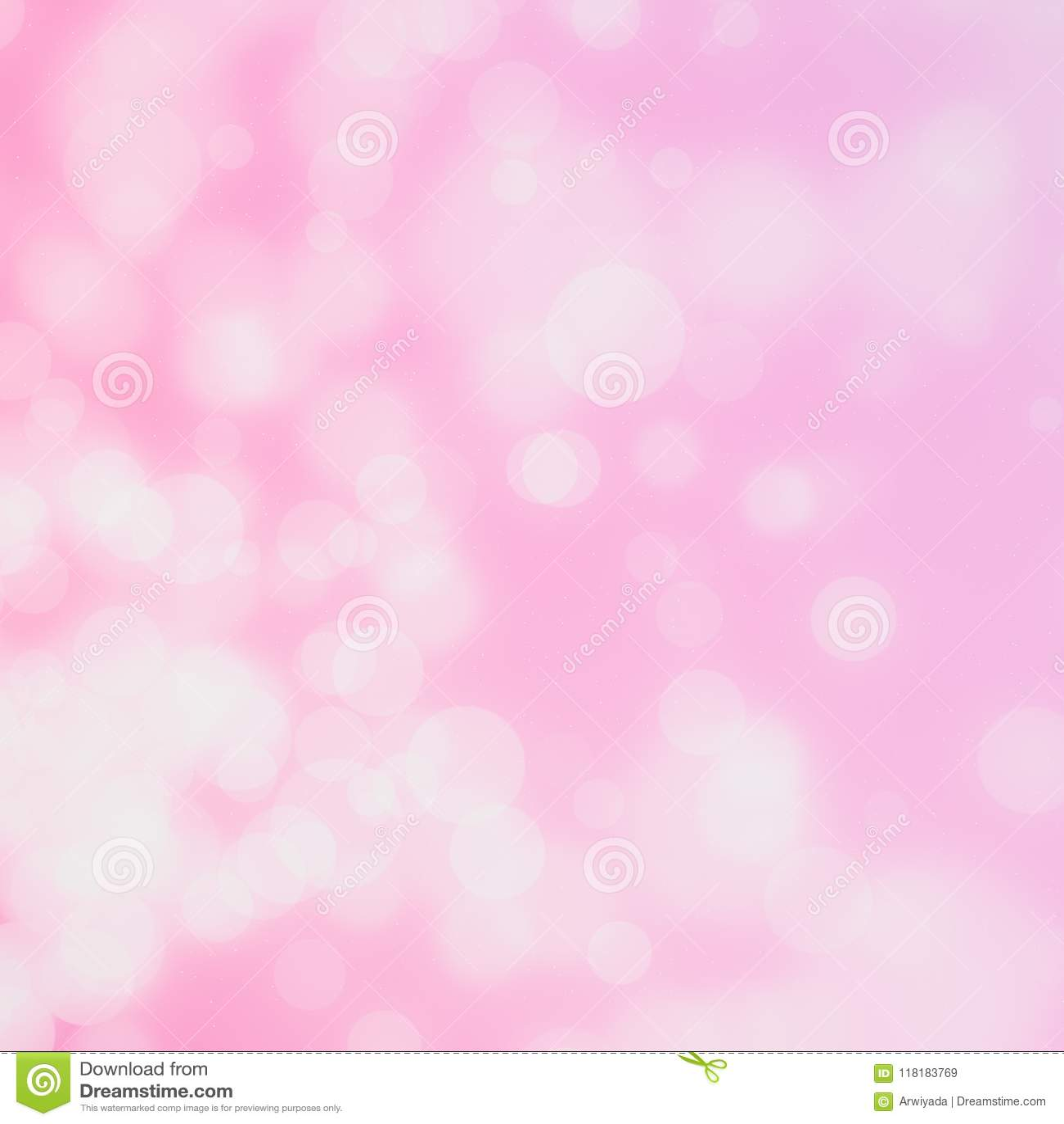 White circle bokeh on pink background blurred light.