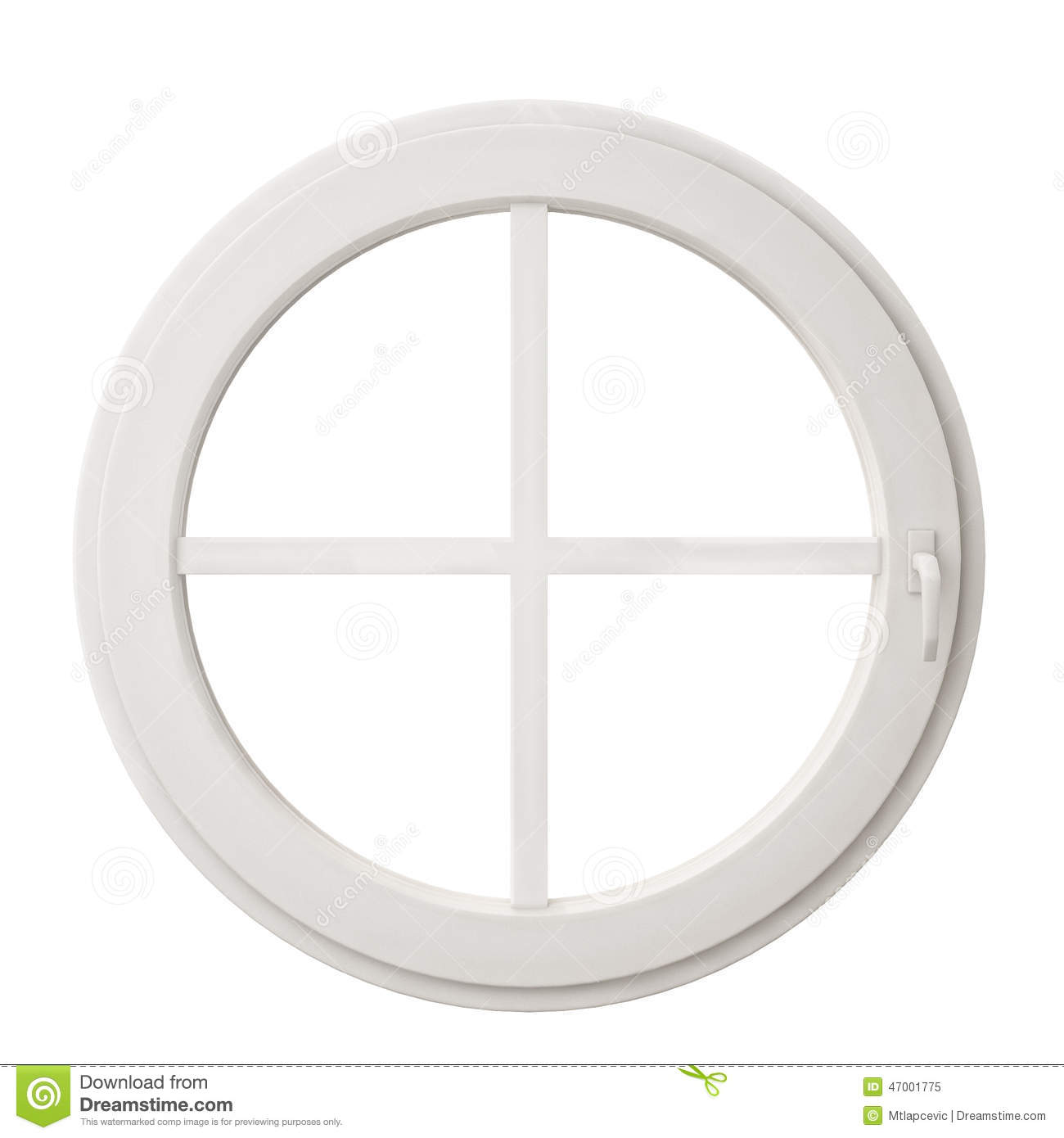 White circle window frame isolated on white background for Window design template