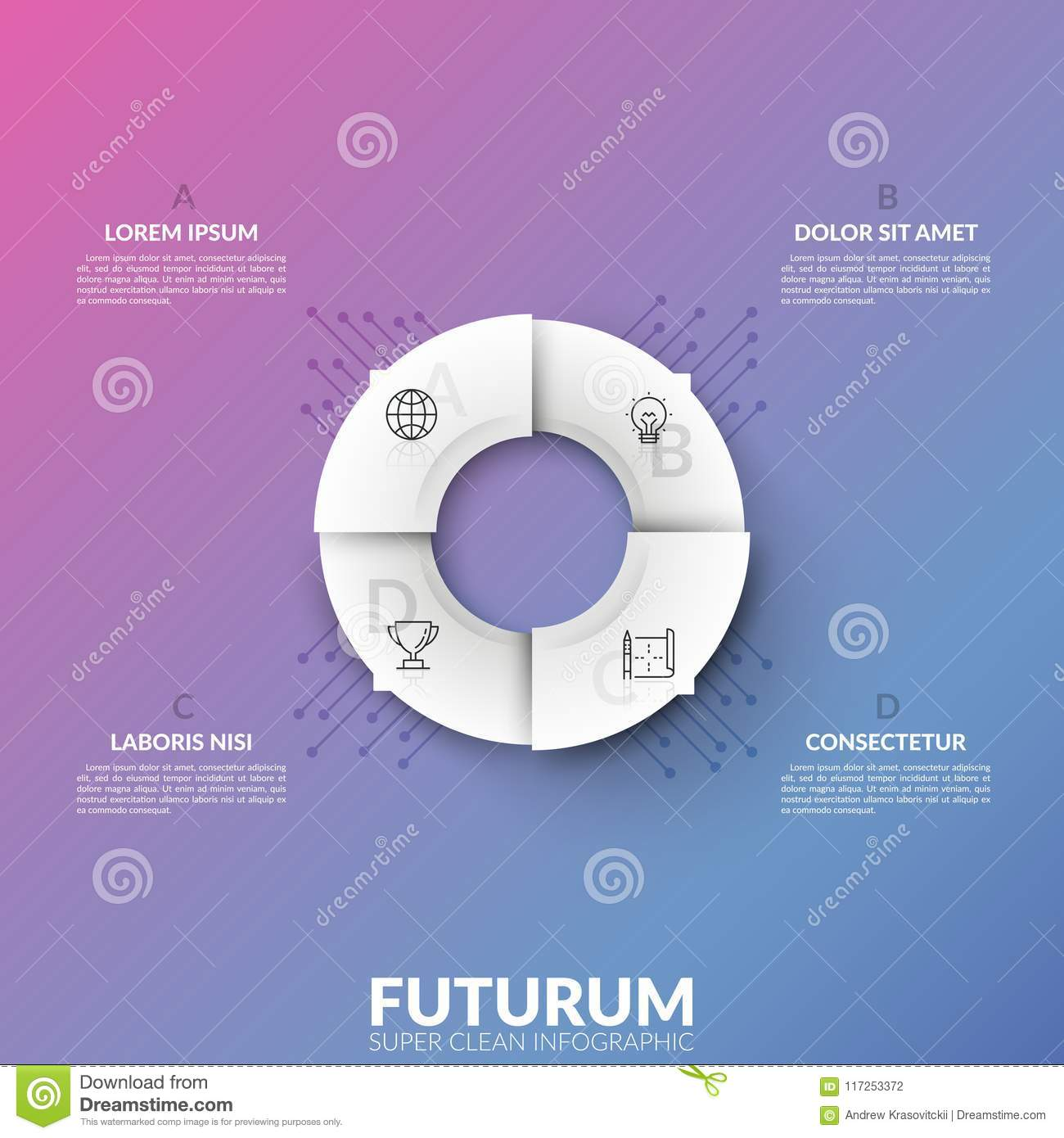 White circular pie chart divided into 4 sectors with thin line pictograms and arrows pointing at lettered text boxes