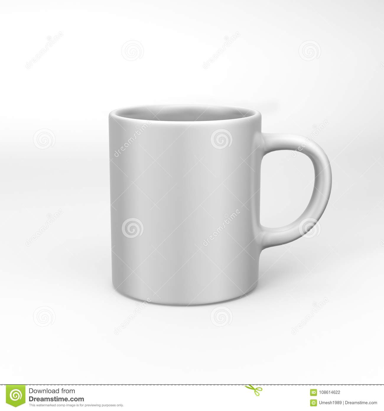 Realistic Blank Ceramic White Coffee Cup And Mug Isolated On White ...