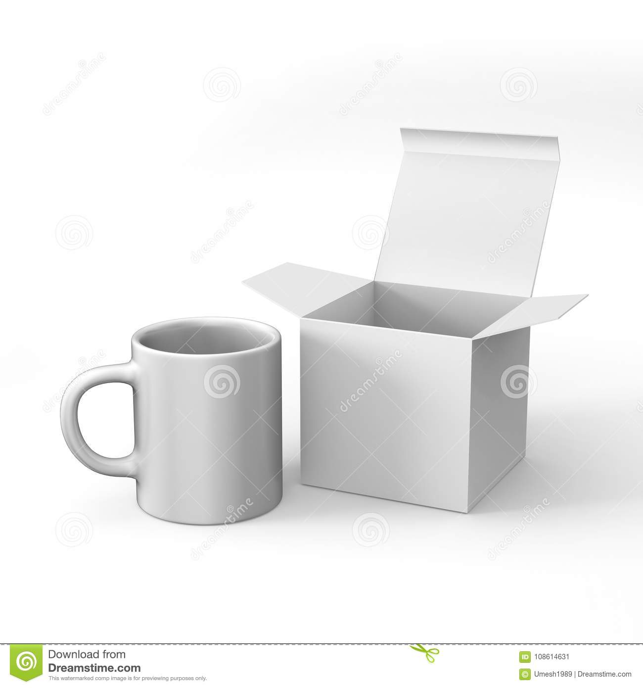 realistic blank ceramic white coffee cup and mug isolated on white