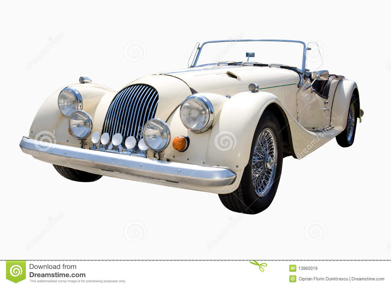 White Classic Car Royalty Free Stock Images