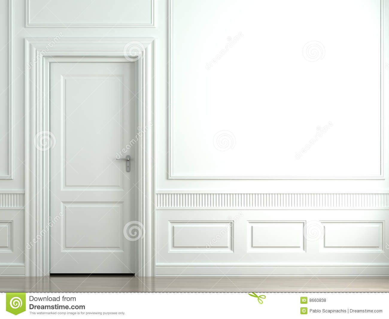 White classic wall with door royalty free stock photos for Door in the wall