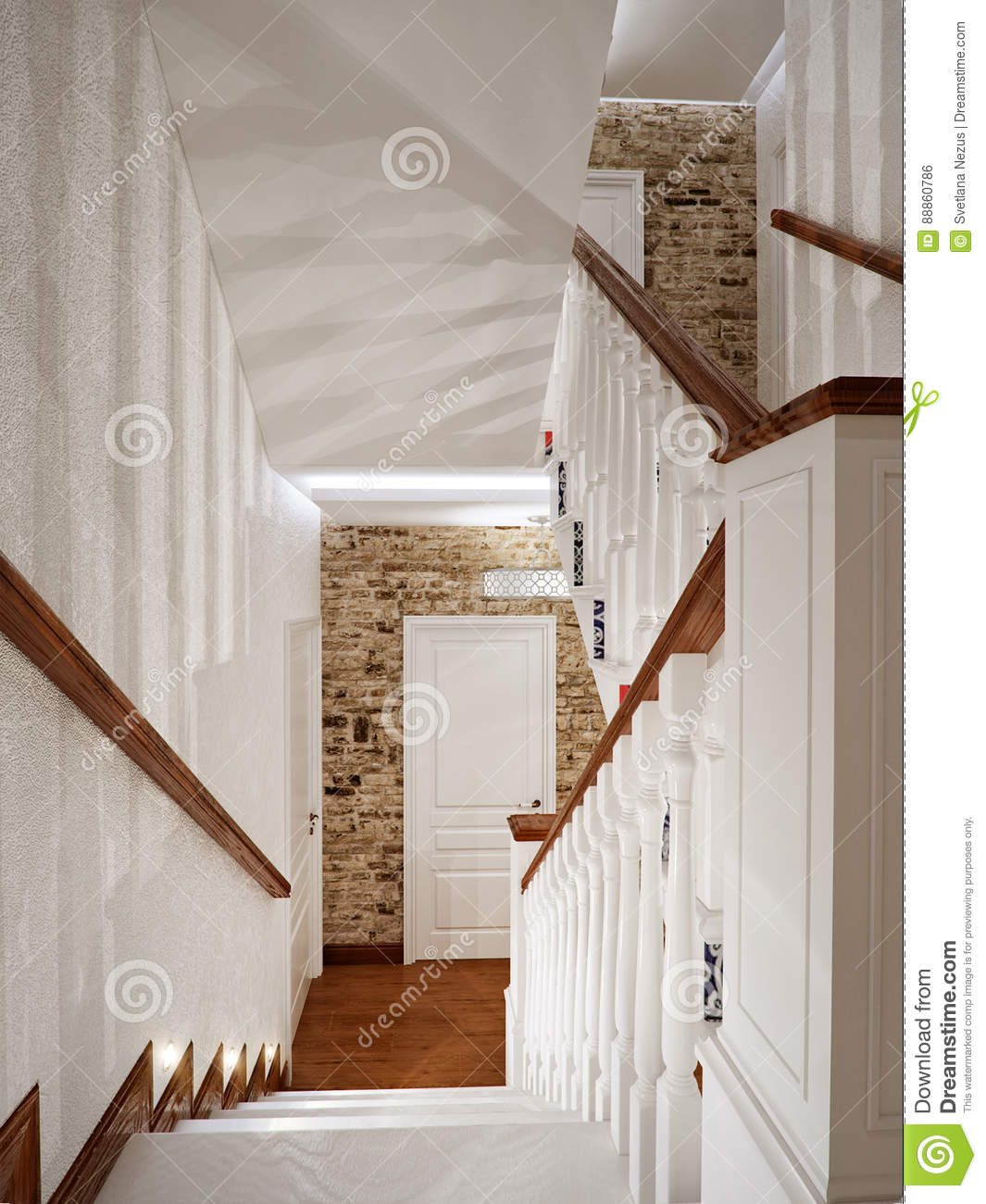 Design wooden railing with wooden balusters royalty free - Escaleras de madera interior ...