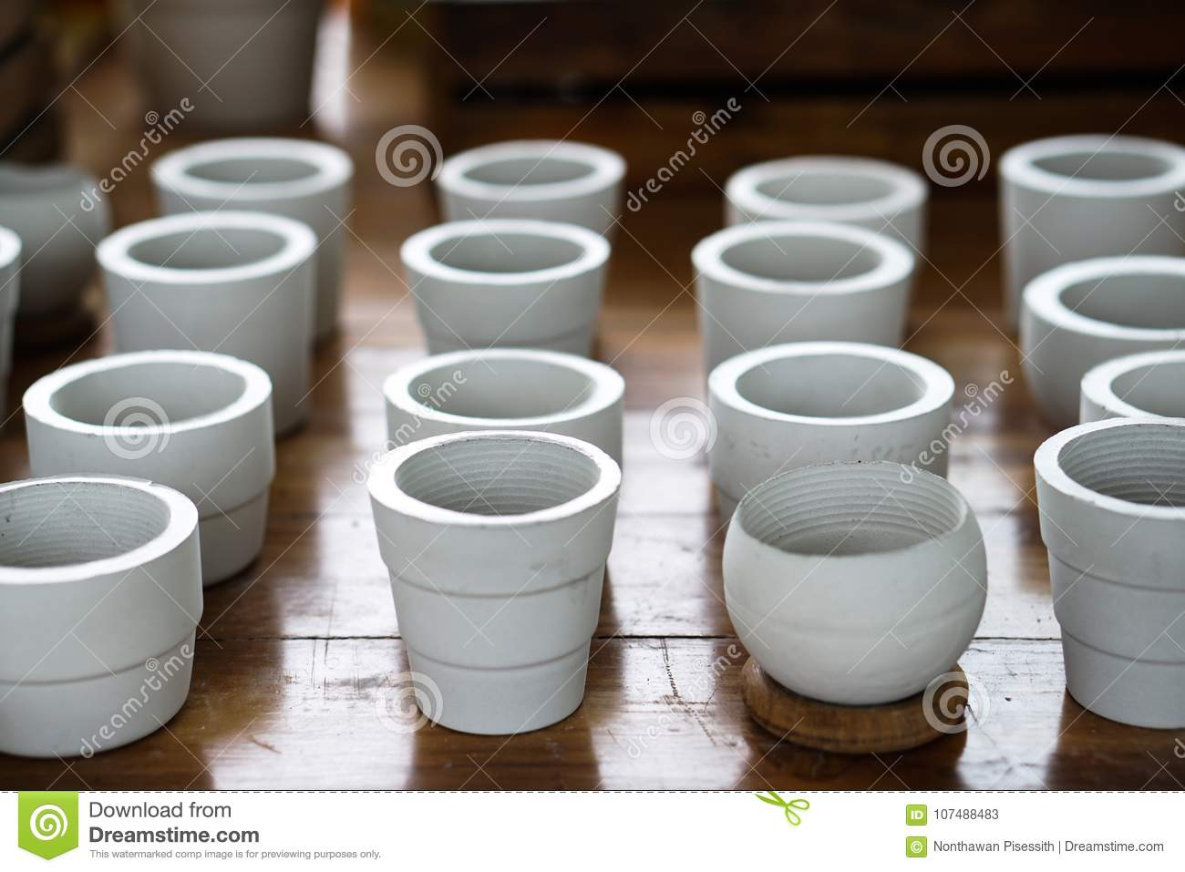 White Clay Ceramic Planting Pots Stock Image - Image of