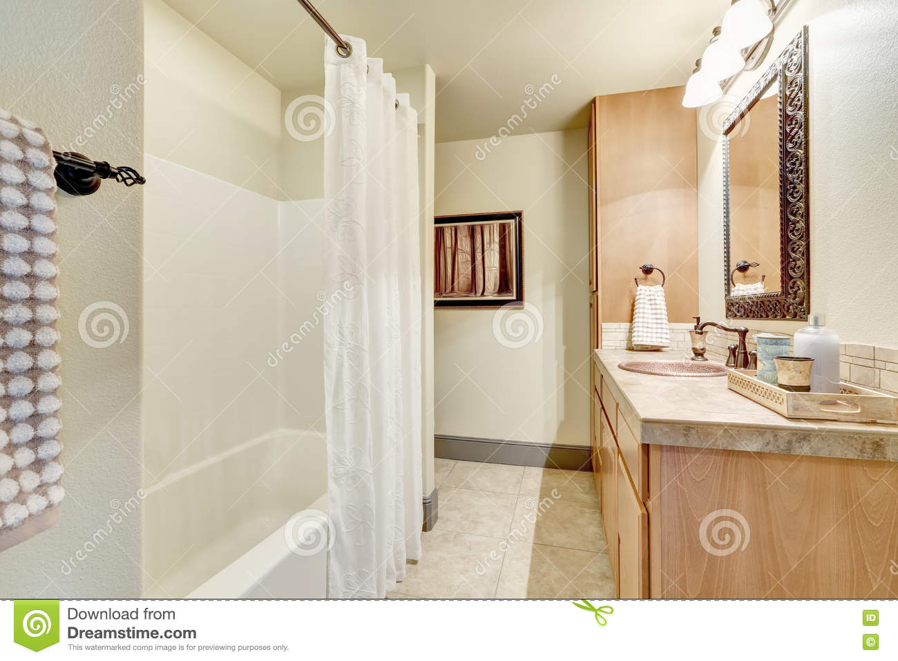 White Clean Bathroom Interior With Modern Maple Cabinets Stock Image ...