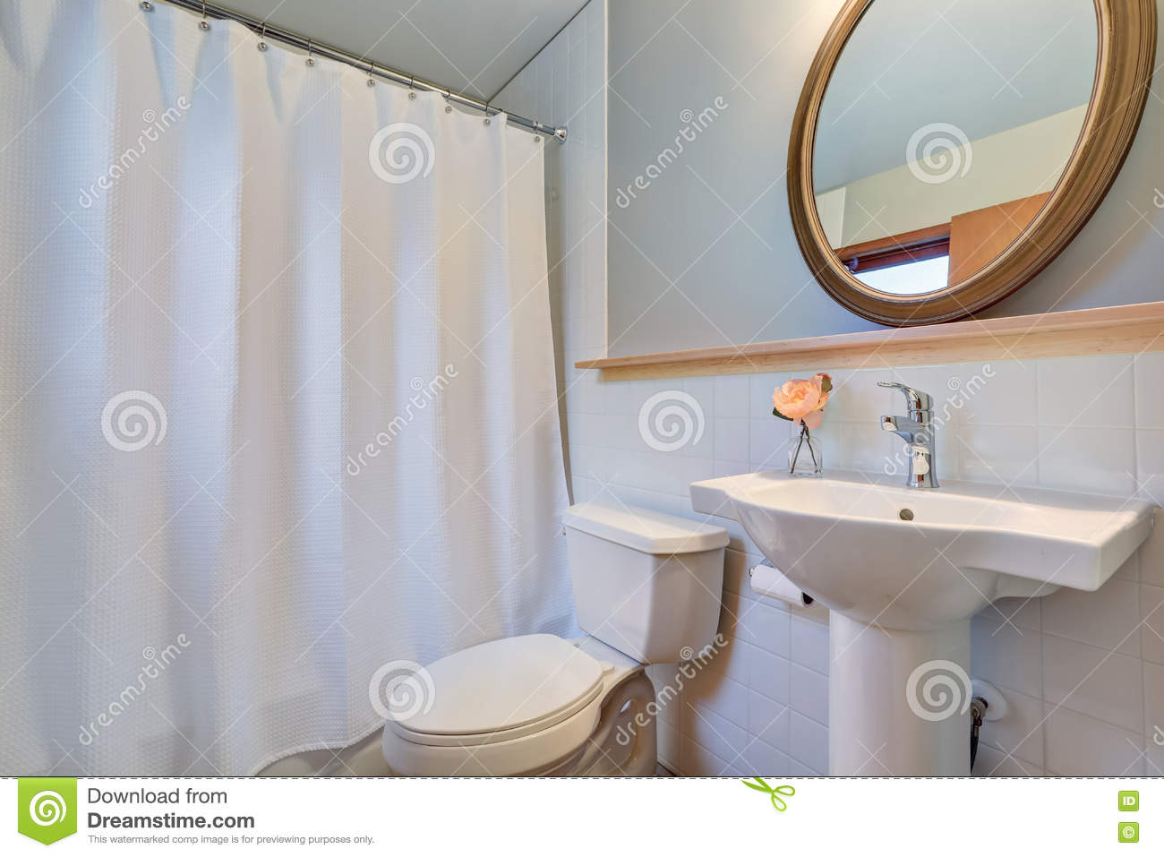 White Clean Bathroom With Washbasin Stand And A Toilet. Stock Image ...