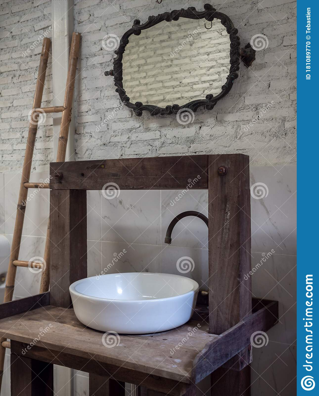White Clean Sink Bath And Faucet On Vintage Wooden Table And Vintage Mirror On White Brick Wall Background Stock Photo Image Of Bright Concept 181089770