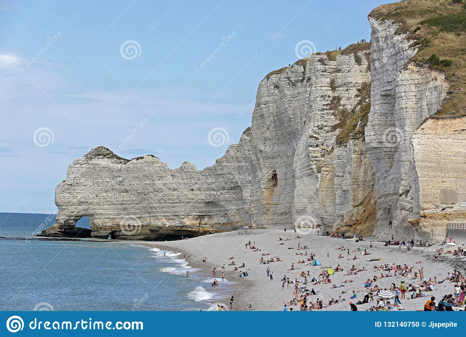 Pebble Beach And White Cliffs Of Etretat Normandy France