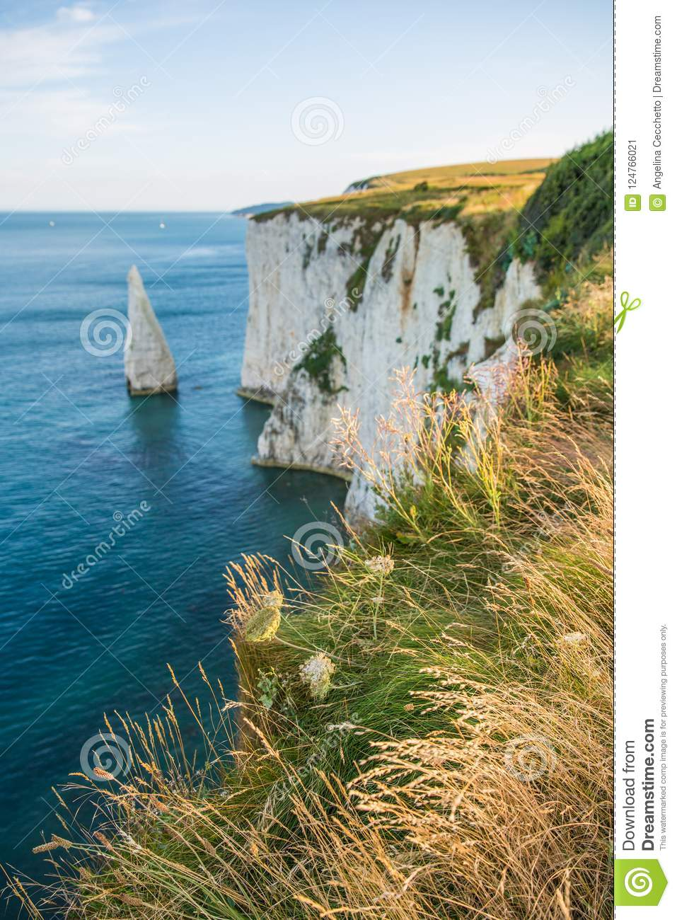 White Cliffs with Turquoise Atlantic Ocean on a Sunny Day