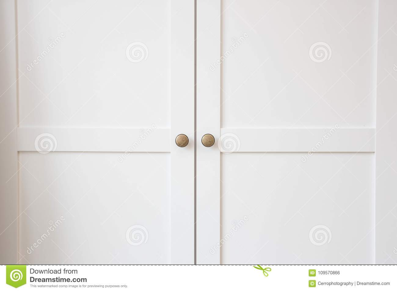 Download White Closet Doors Closeup Stock Photo. Image Of Cabinet    109570866