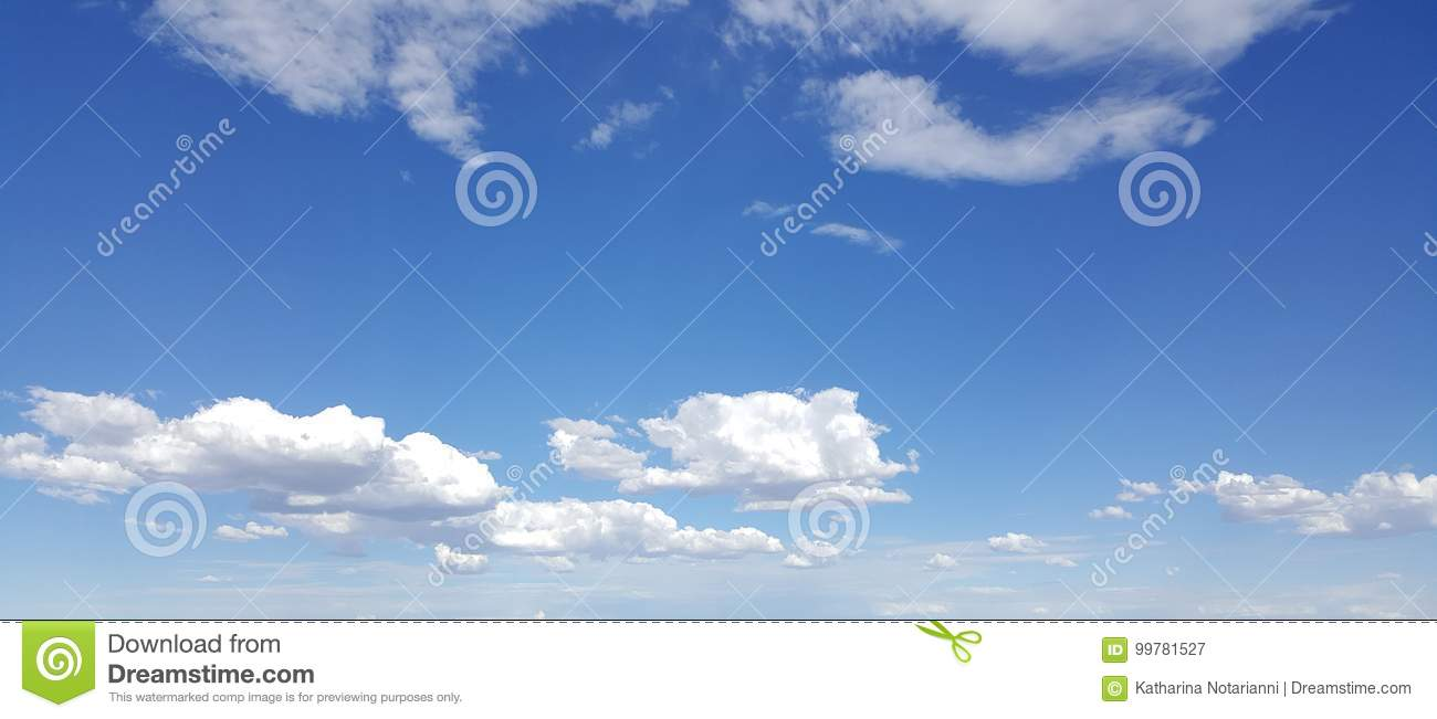 Download White Clouds in Blue Sky stock image. Image of shadows - 99781527