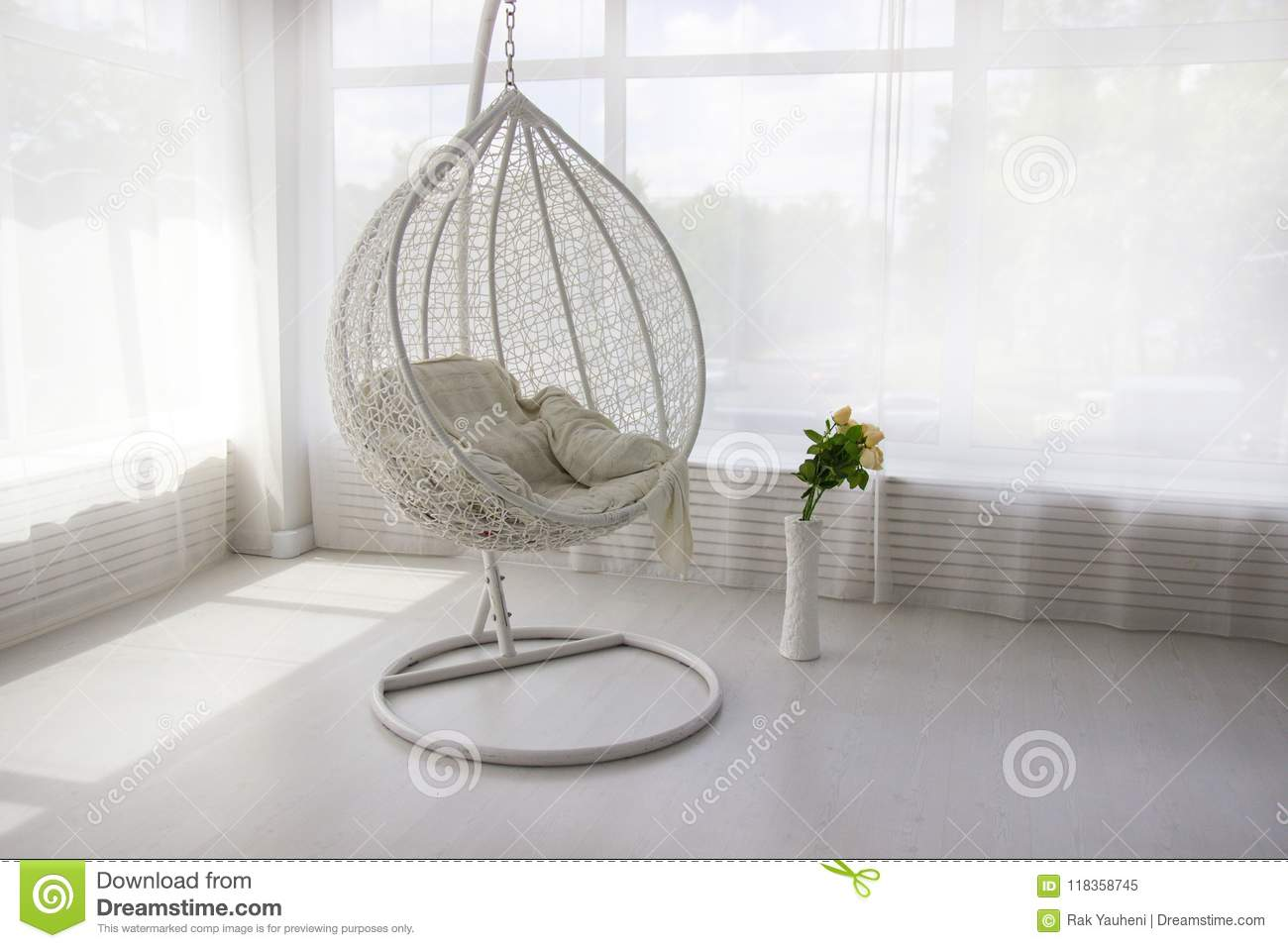 White Interior. White Hanging Chair. Cocoon Chair Stock ...
