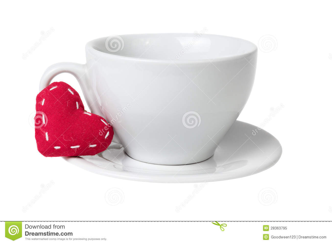 White Coffee Cup With Heart Royalty Free Stock Photo