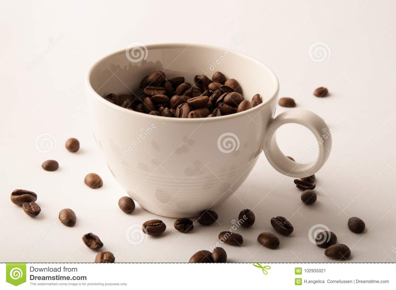 White Coffee Cup And Roasted Coffee Beans Wall Art Stock Image