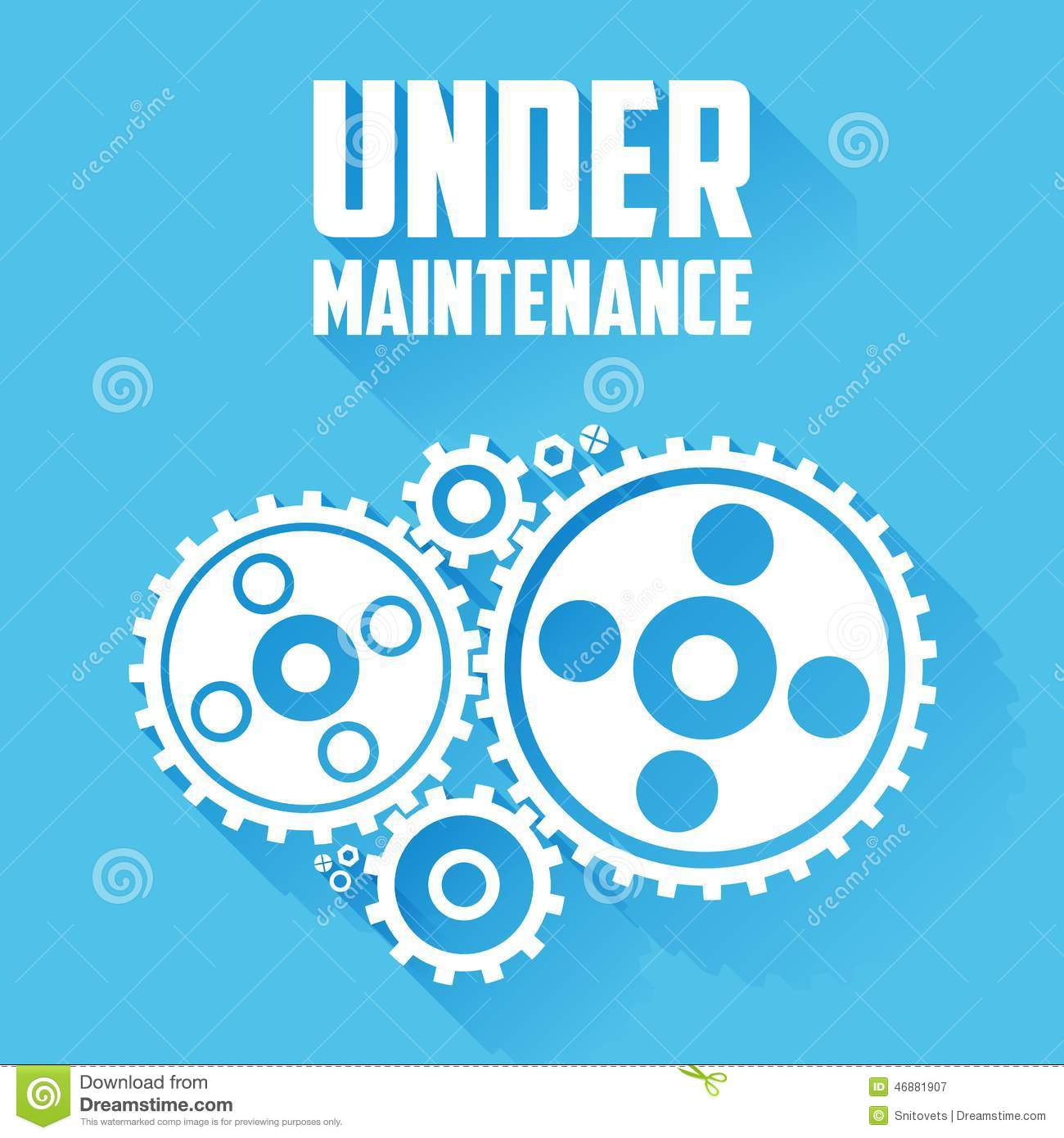 White Cogwheels On A Blue Background Under Maintenance Website Page Message Flat Style With
