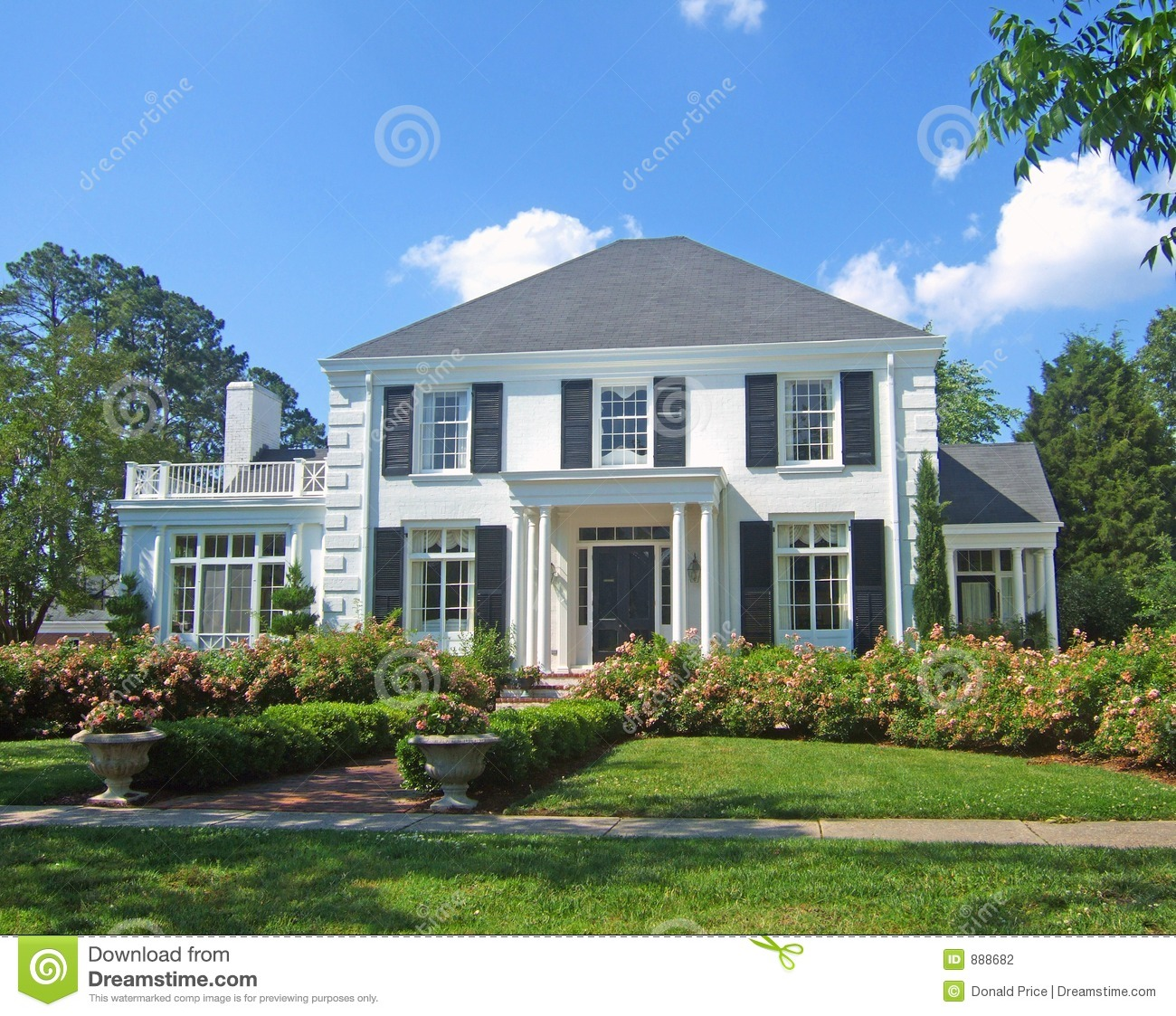 White Colonial Home Stock Photography Image 888682