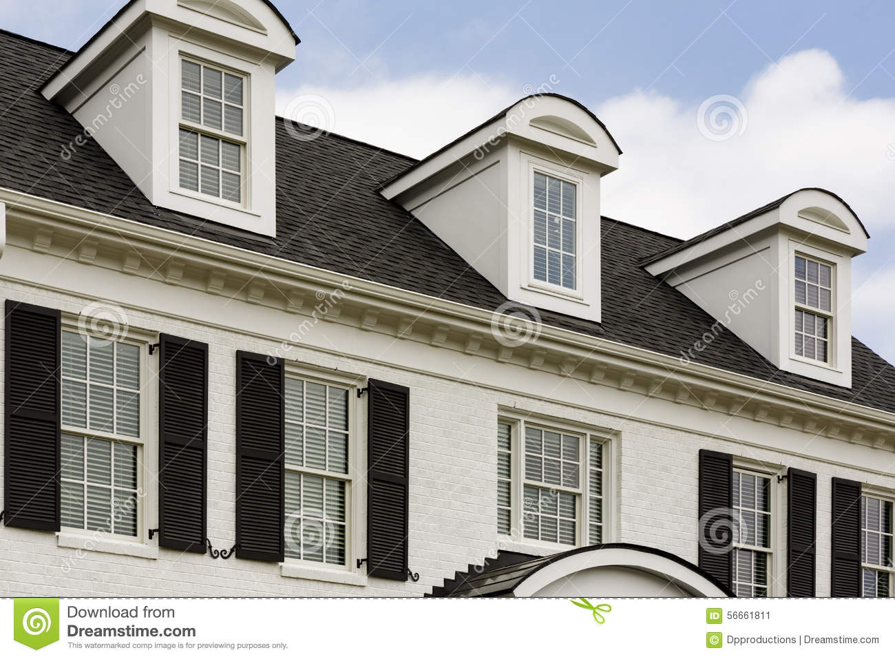 White Colonial House With Windows Stock Photo Image