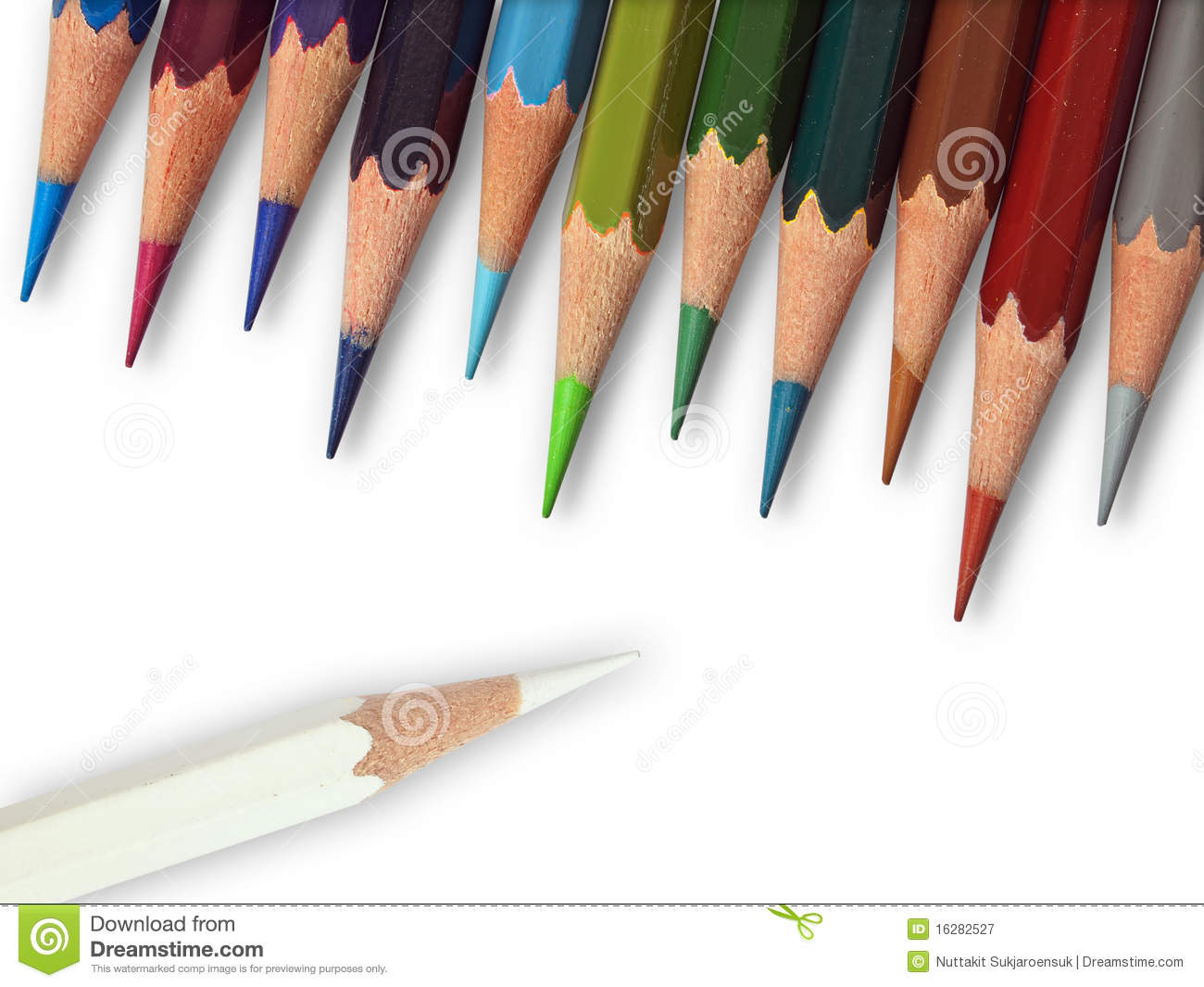 white color and eleven cool tone color pencil stock image image of