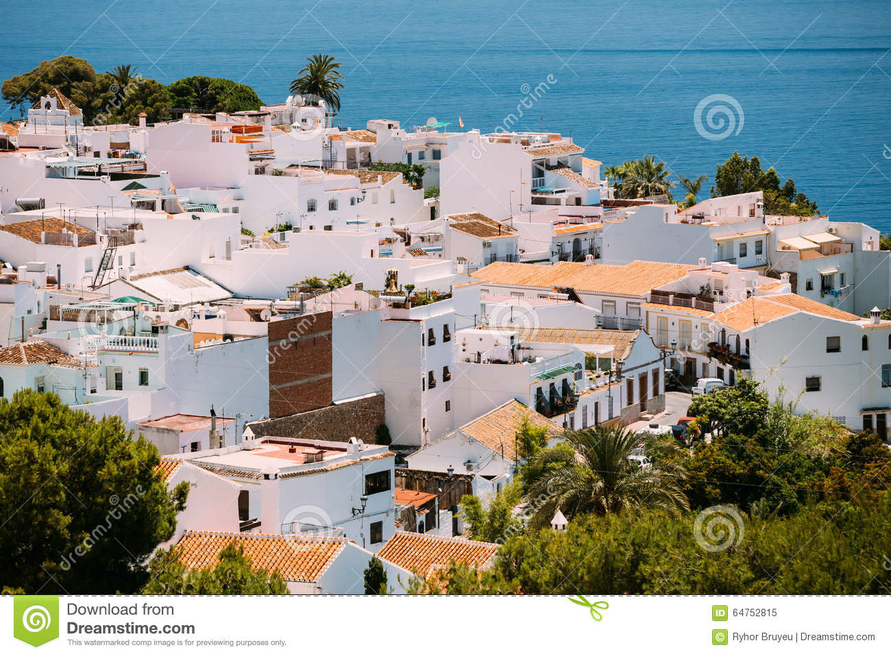 white color houses in nerja malaga province stock image image of cityscape outdoor 64752815. Black Bedroom Furniture Sets. Home Design Ideas