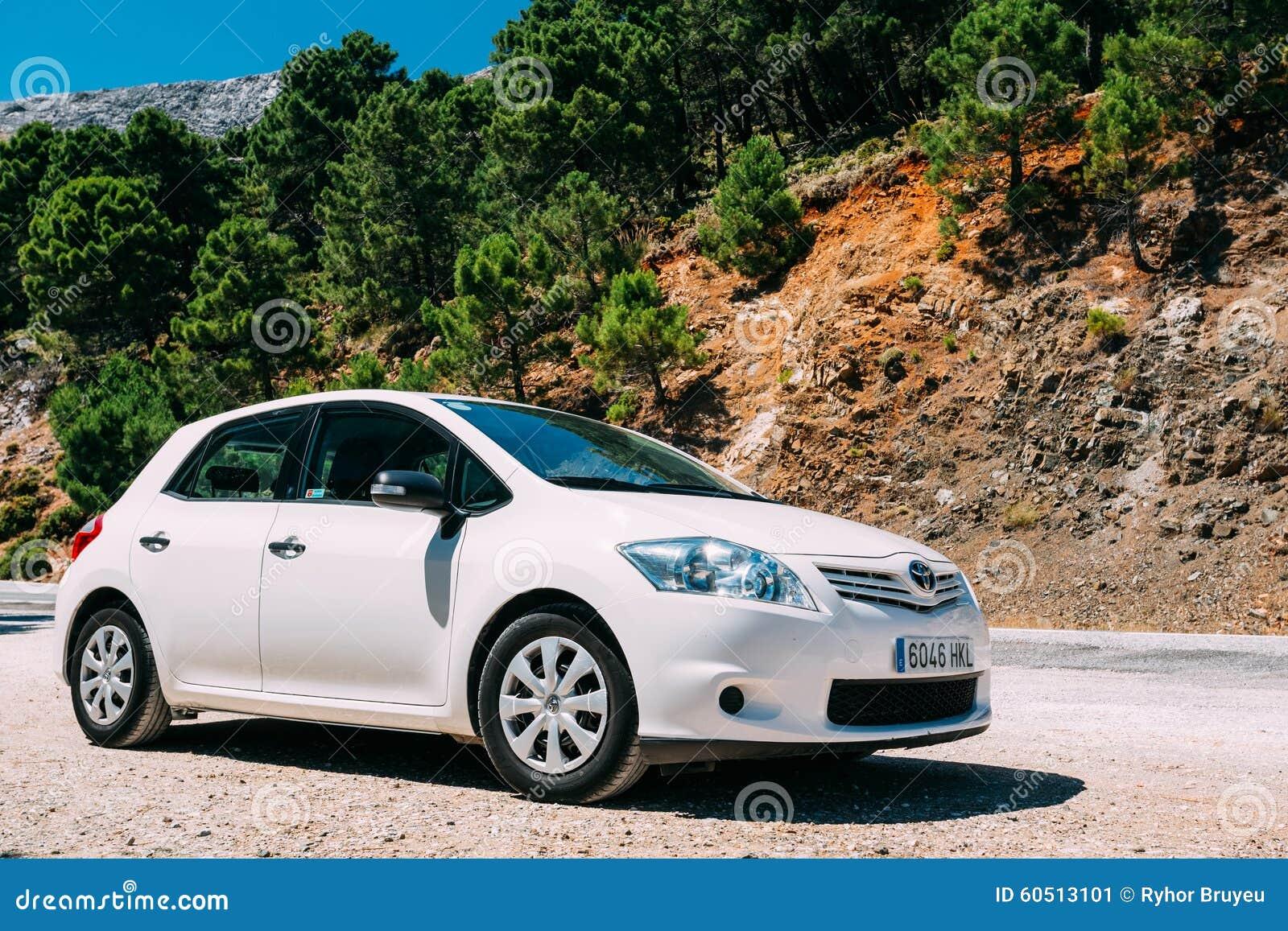 white color toyota auris car on spain nature editorial photo image 60513101. Black Bedroom Furniture Sets. Home Design Ideas