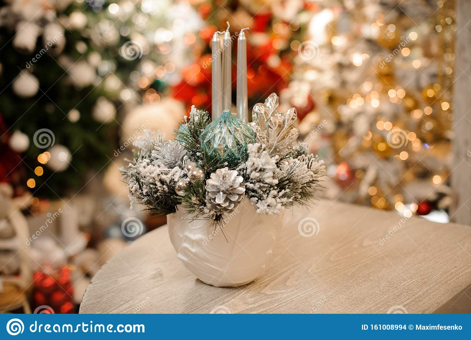 White Color Vase With Christmas Decor Composition Of Flowers And Candles Stock Photo Image Of Candle Decoration 161008994