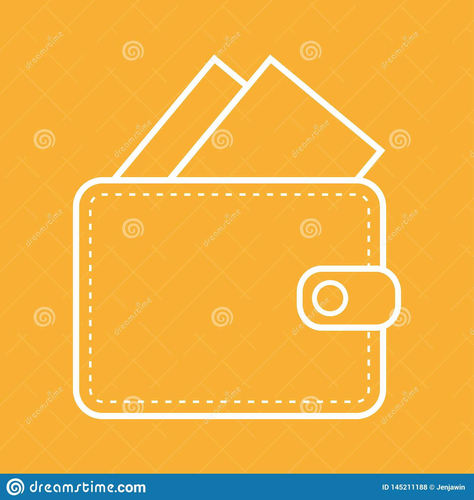 White color Wallet outline with money icon vector eps10. Wallet oultine with card or banknoutes on orange background