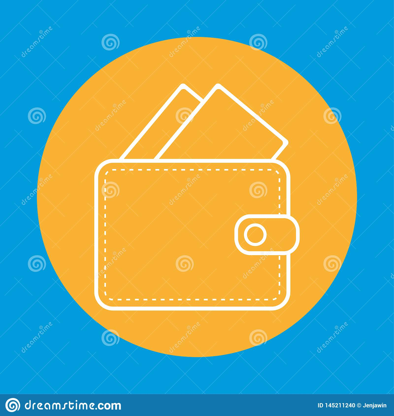 White color Wallet outline woth banknotes money inside. wallet with money outline in orange circle icon vector eps10