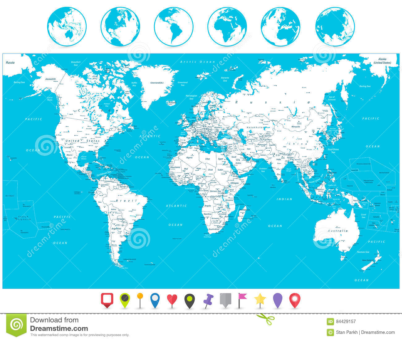 Navigation World Map.White Color World Map And Navigation Icons Highly Detailed Illus