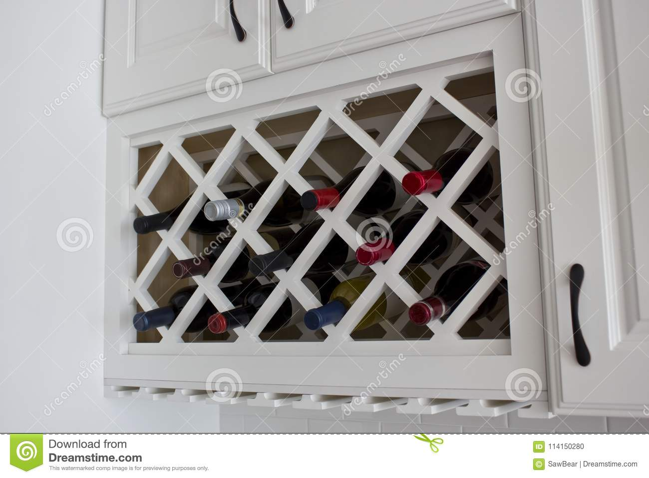 White Built In Wine Rack Cabinet Stock Photo Image Of Counter