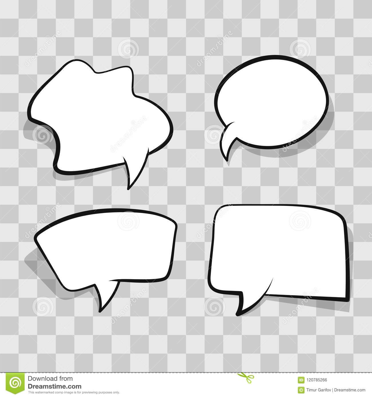 White Comic Speech Bubble Isolated On Transparent Background Set