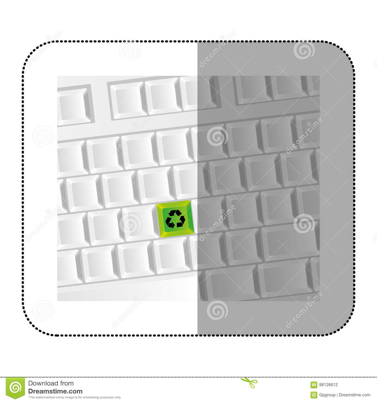 White computer keyboard with recycle symbol icon stock white computer keyboard with recycle symbol icon energy element buycottarizona Gallery