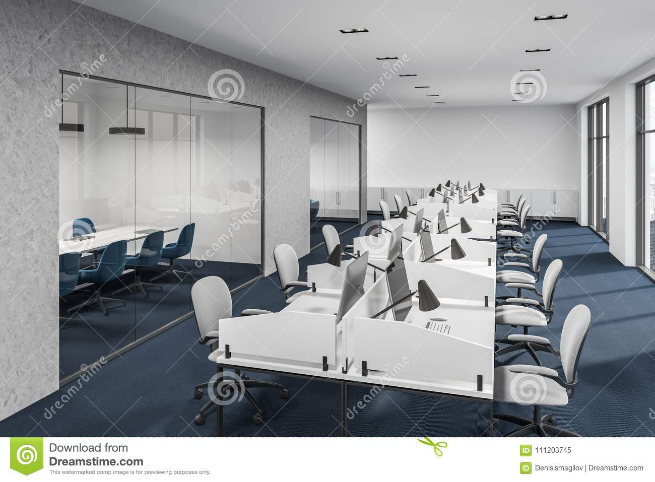 Download Concerete And White Loft Office Meeting Room Stock Illustration