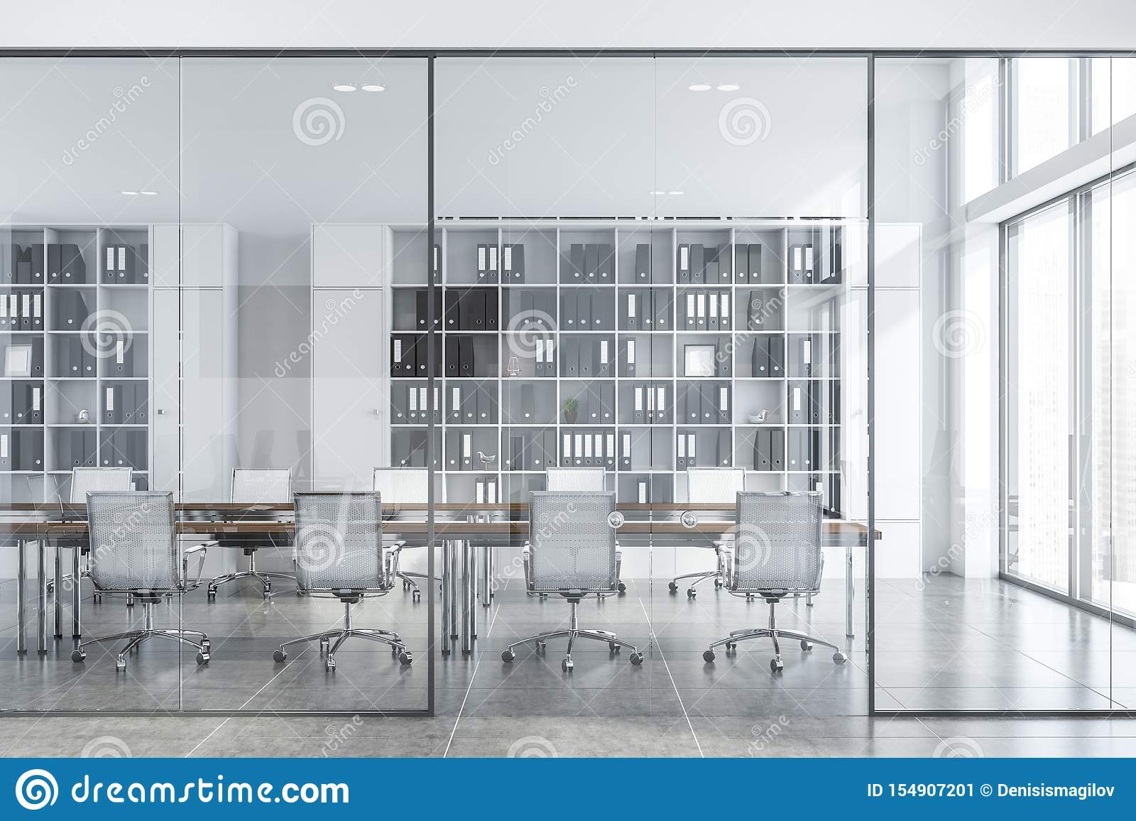 White Conference Room Interior With Glass Doors Stock