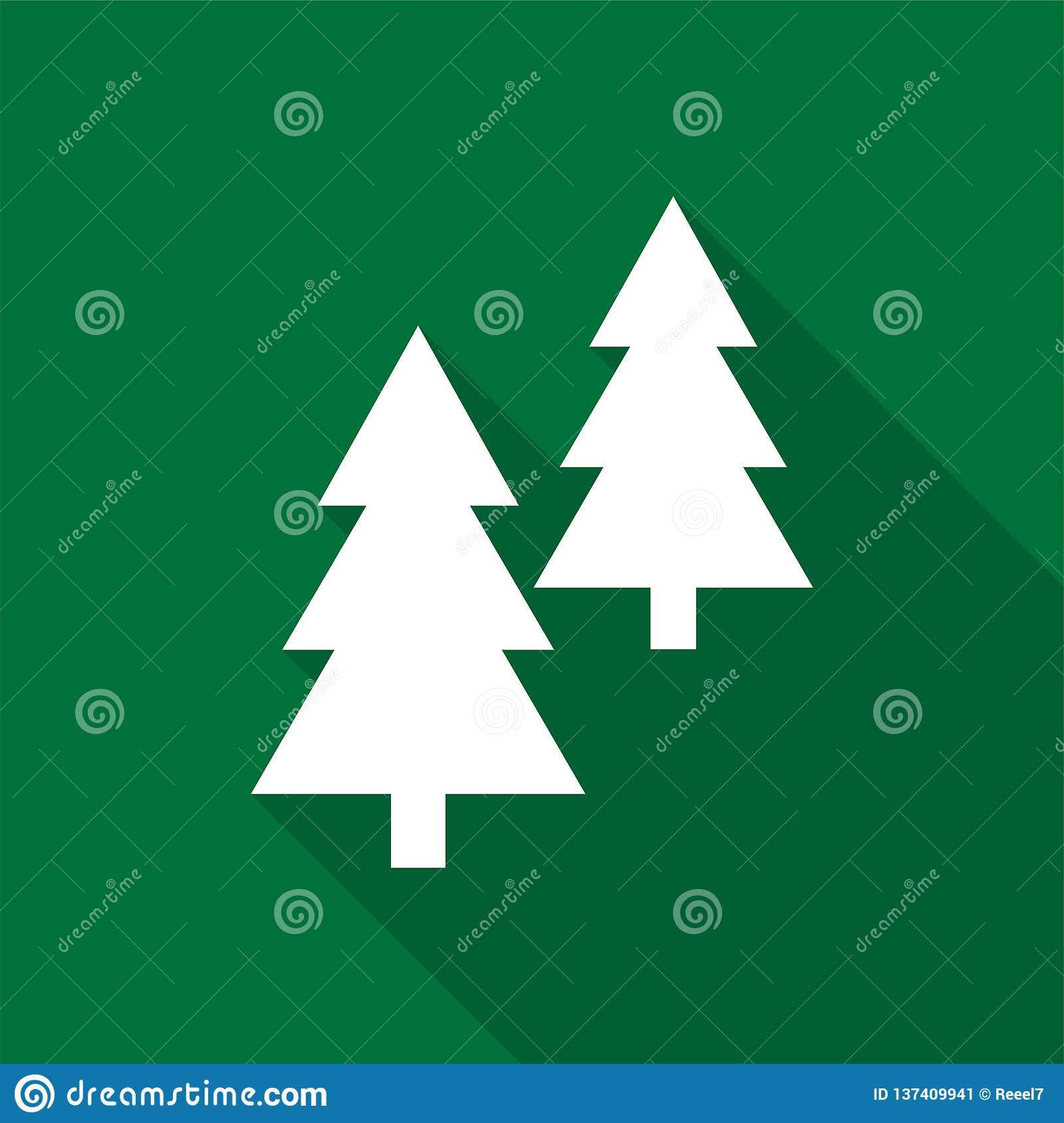 White coniferous trees icons with long shadow on green background.