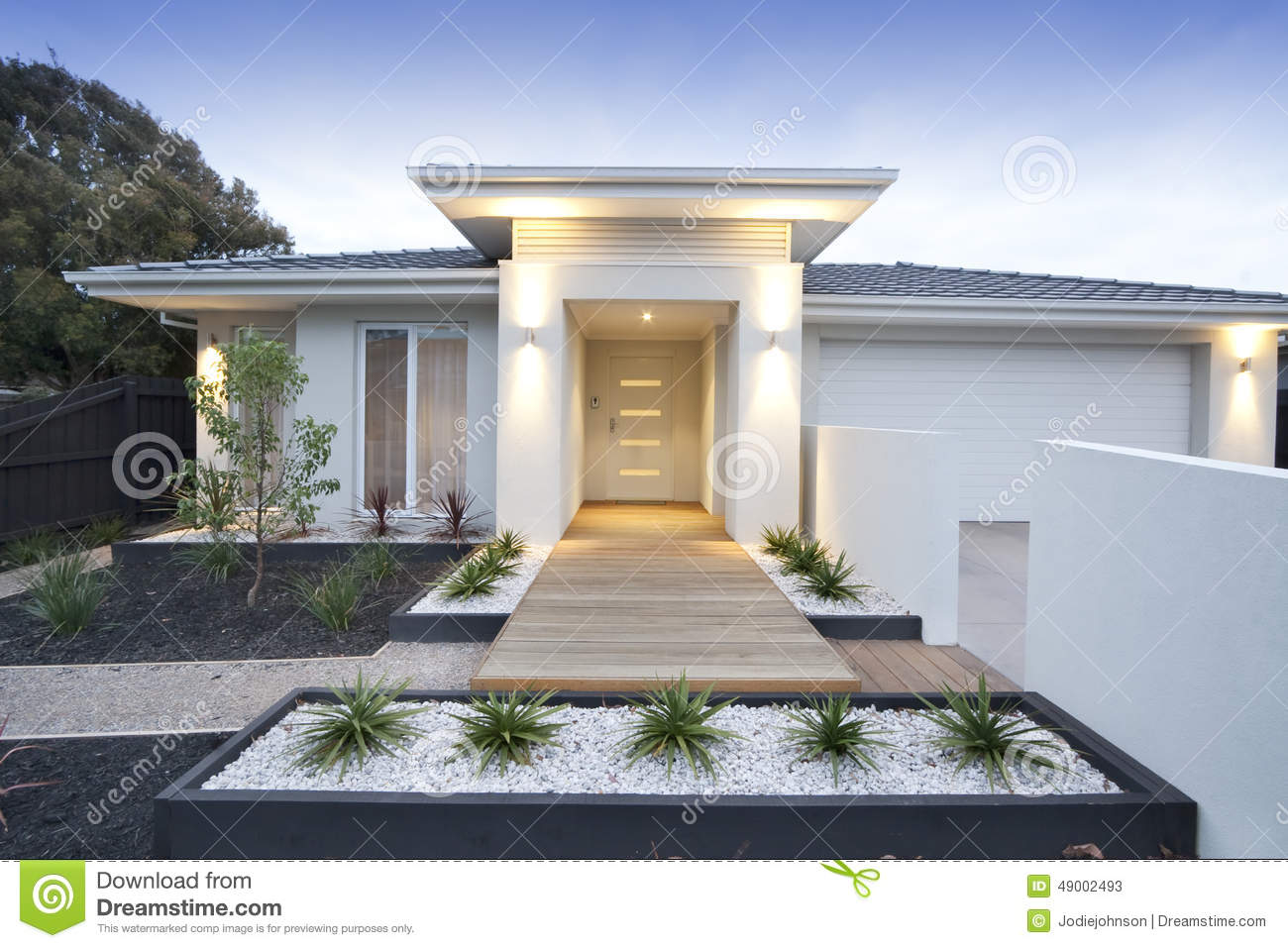 White Contemporary House Exterior Stock Photo Image