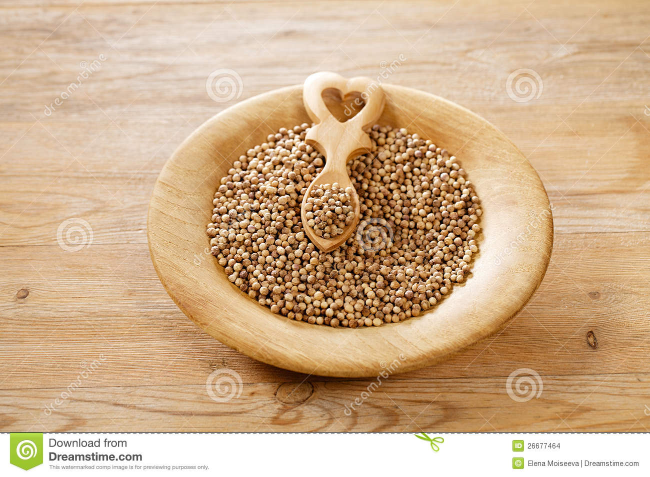 White Coriander Seeds In Wooden Plate Stock Images Image
