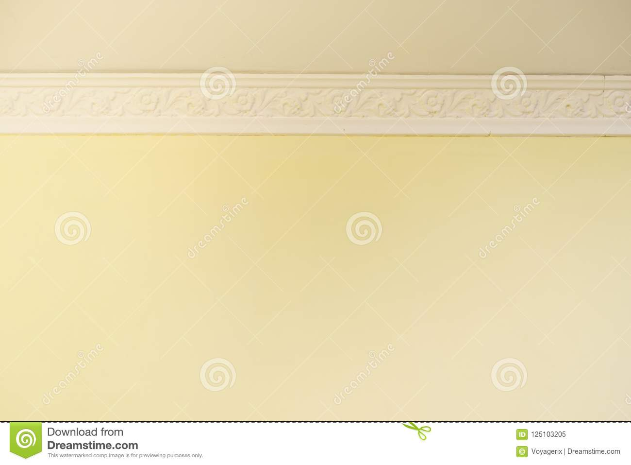 White cornce on wall stock image. Image of yellow, detail - 125103205