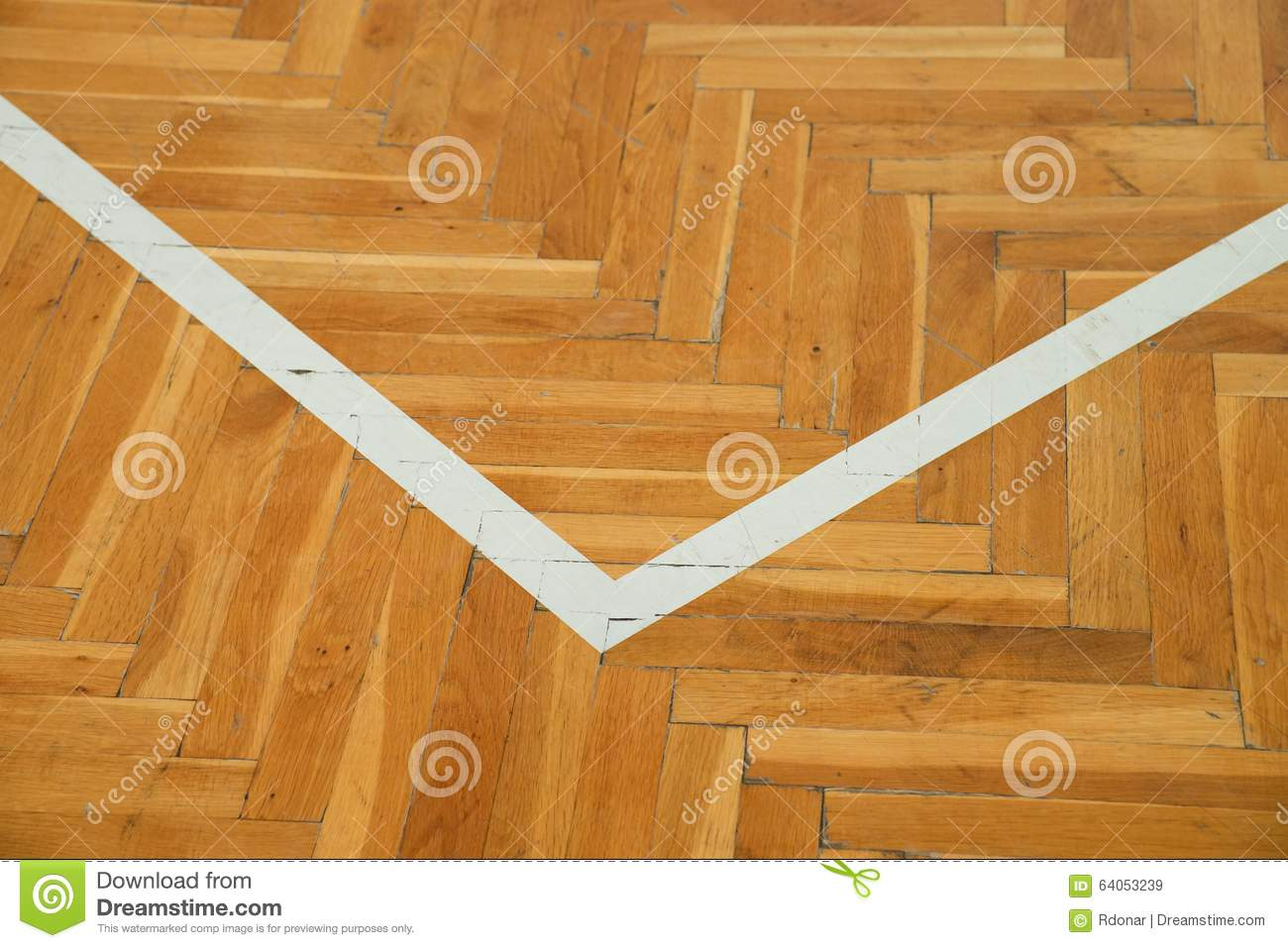 White corner worn out wooden floor of sports hall with Worn wood floors
