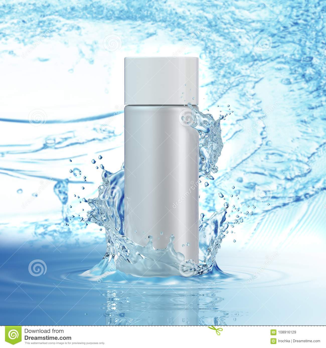 White cosmetic products with water splash on cyan background.
