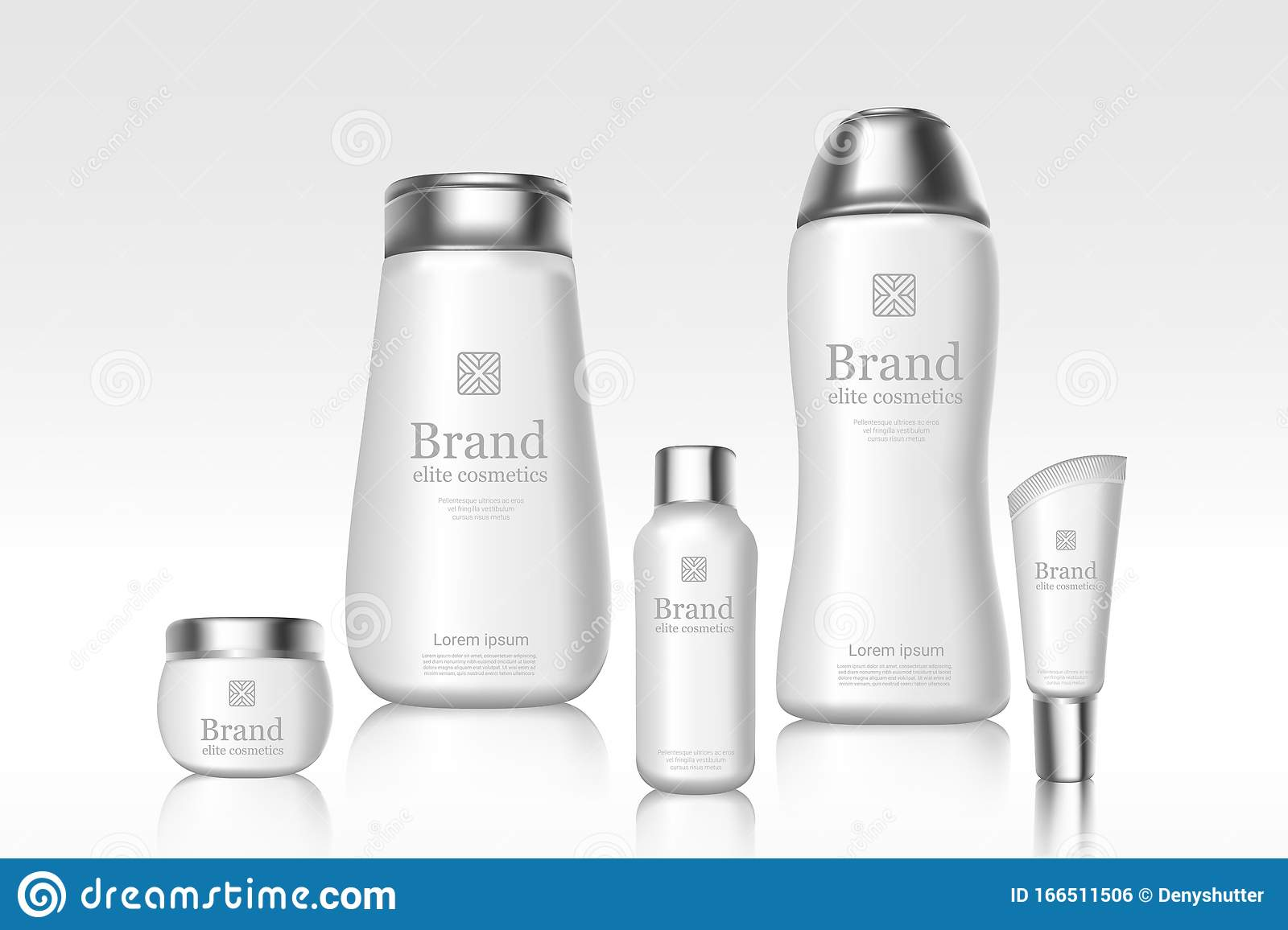 White Cosmetics Branded Bottles With Brand Logo Package Design Mockup Advertisement Banner Template Skincare Products Stock Vector Illustration Of Health Foam 166511506