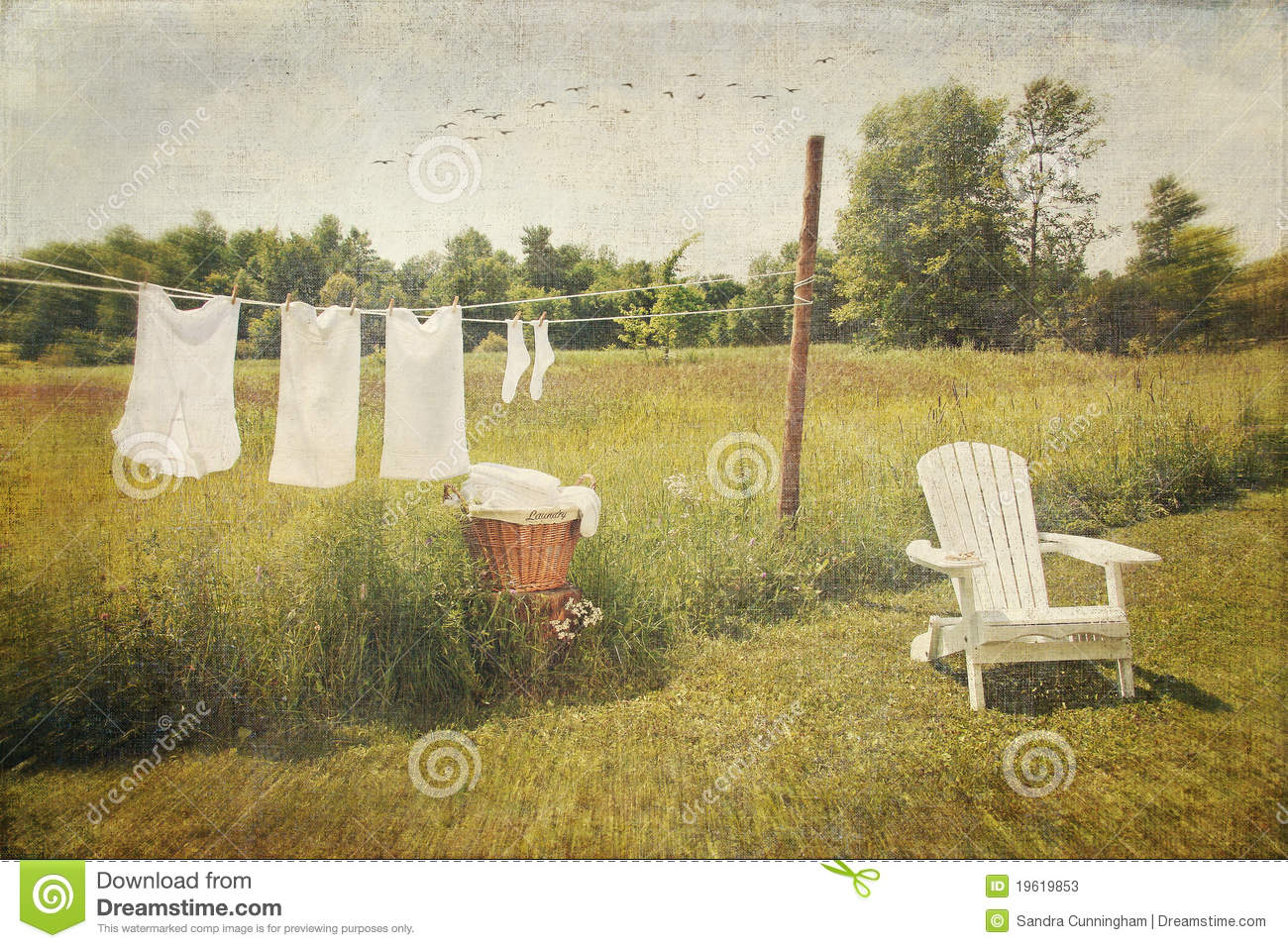 Clothes Drying On A Clothesline ~ White cotton clothes drying on a wash line stock image