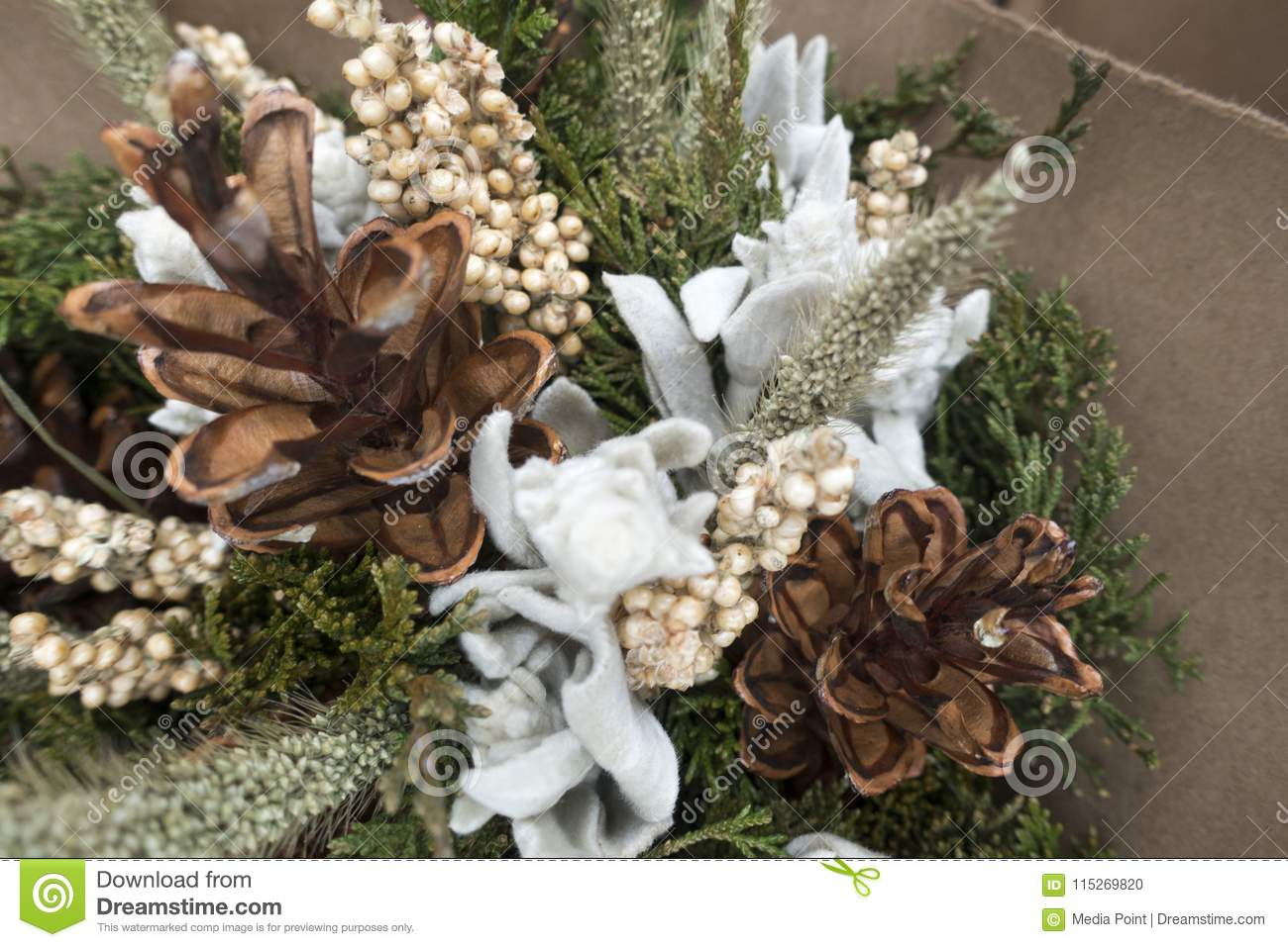 Rustic Winter Christmas Dried Bokay Of Flowers With Pine Cones Stock Photo Image Of Flowers Dried 115269820