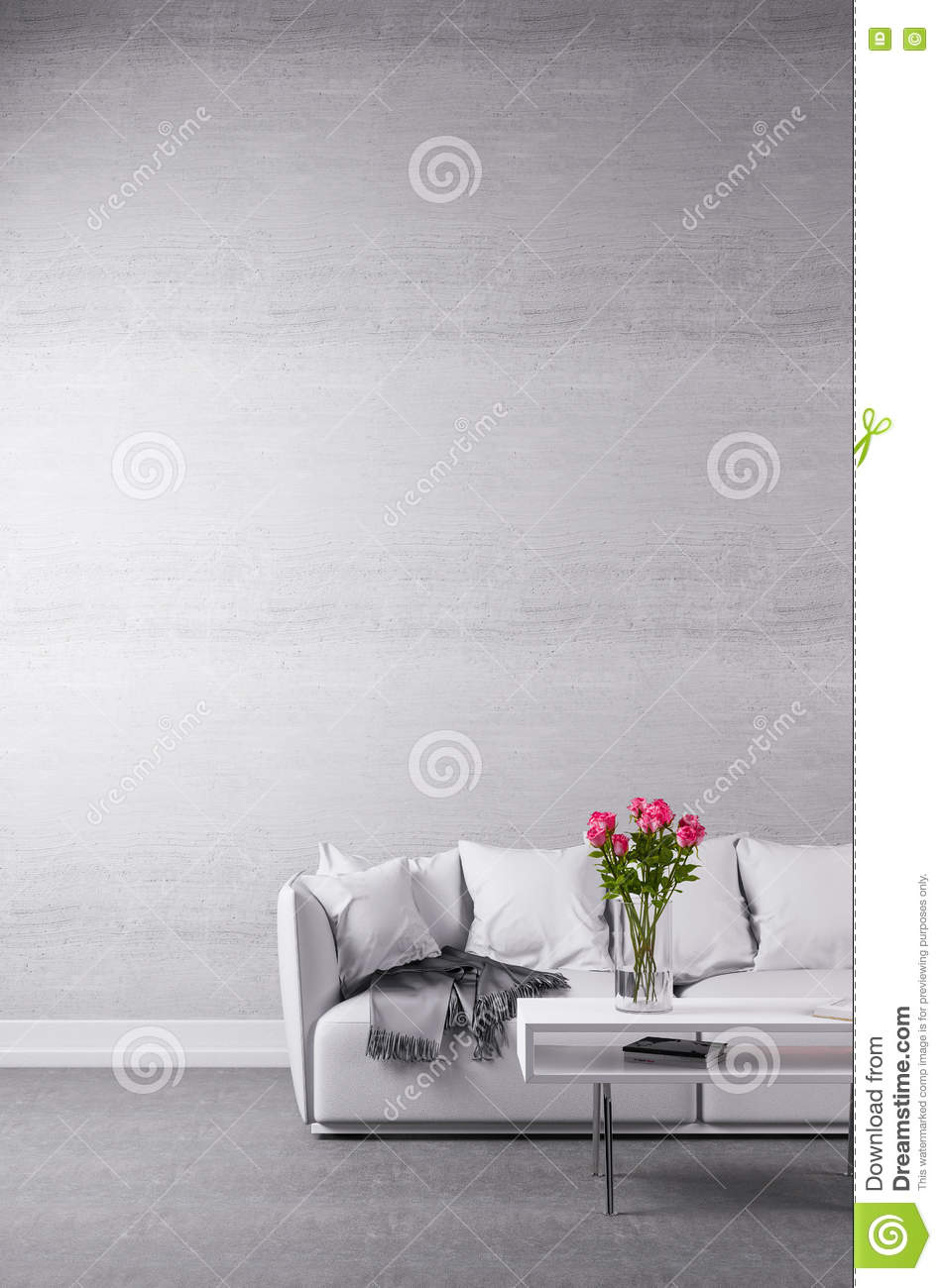 Incredible White Couch In Minimalist Room Stock Image Image Of Table Gamerscity Chair Design For Home Gamerscityorg