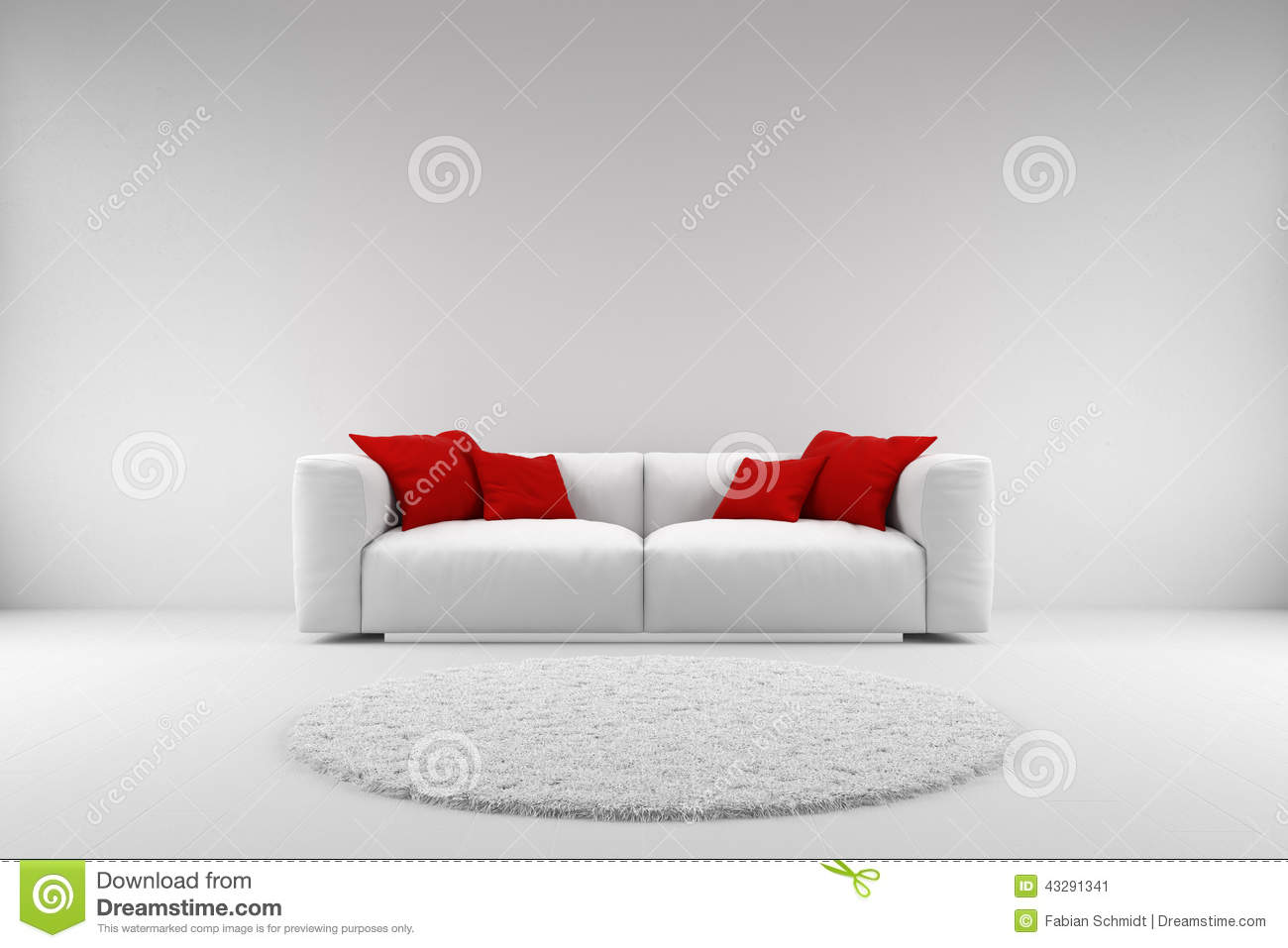Modern blue and white bedroom - White Couch With Red Pillows And Carpet With Copy Space